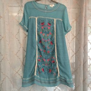 Umgee Teal Embroidered Detail Dress